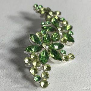 Vintage Green Leaf Rhinestone Silver Tone Brooch